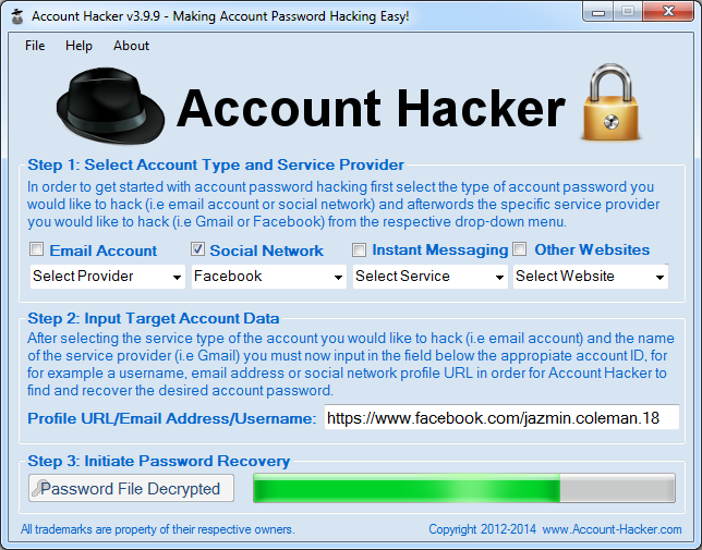 Screenshot of Account Hacker 3.9.9
