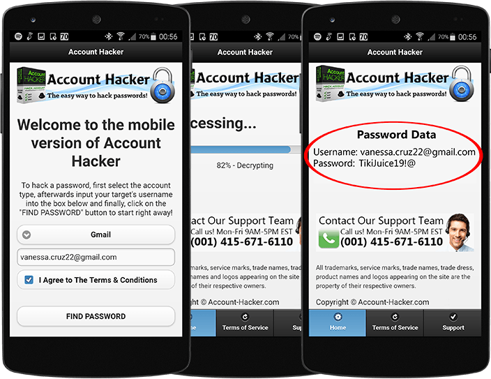 mobile Gmail Hacking App for Android and iOS