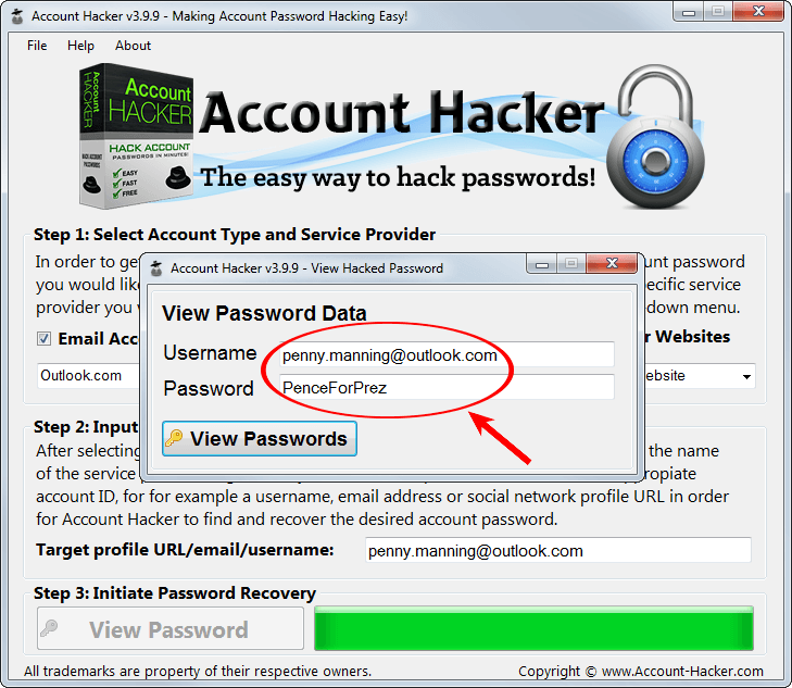 hack Outlook email passwords