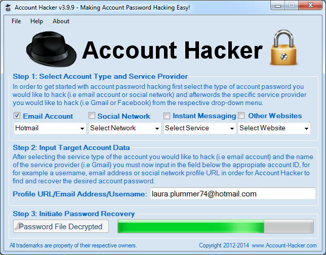 Crack Hotmail Passwords
